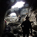 View from inside a lava tube on Heimaey island, part of the 1973 flow.