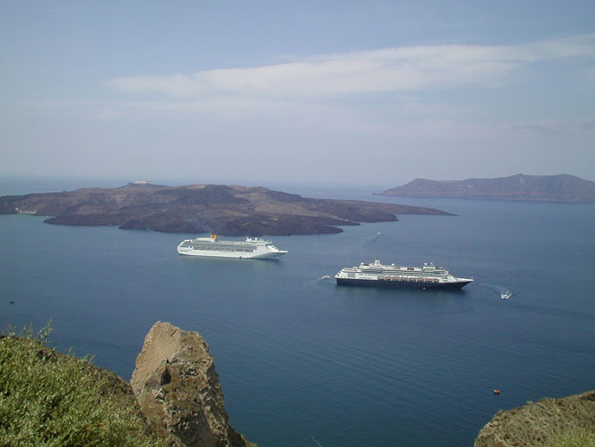 Cruise liners at anchor in the Santorini caldera
