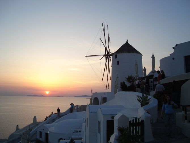 Sunset at Oia on the north western tip of Thera