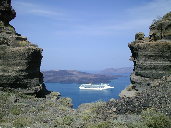 View of the NeaKameni and Therasia islands at Santorini