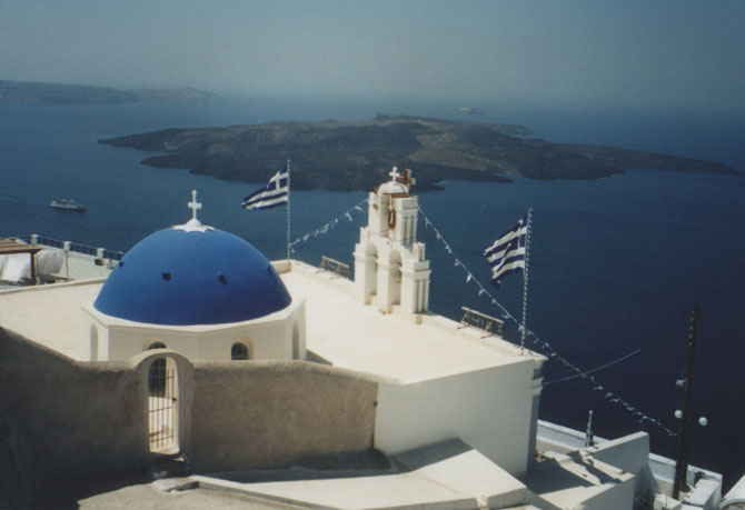The classic view of Santorini