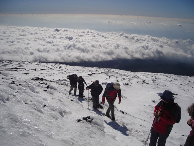 Snowy path to the summit of Mount Etna