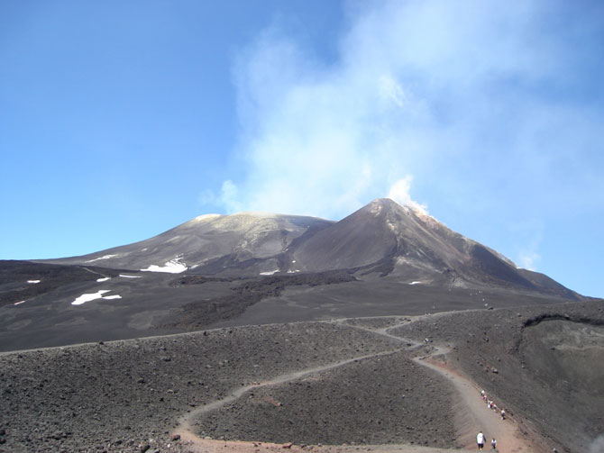 The steaming SE crater near the summit of Etna